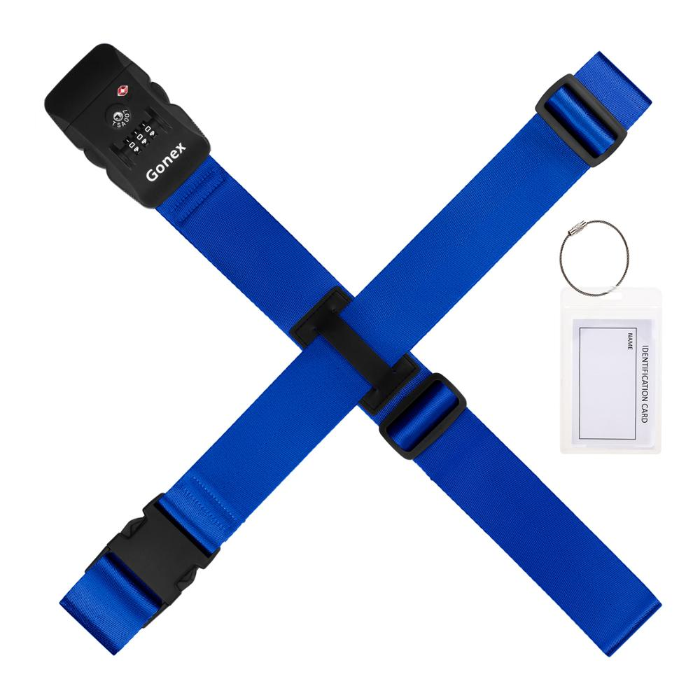 Gonex Straps <font><b>TSA</b></font> Secured Luggage Strap With Luggage Tag Travel Suitcase Straps For Luggage <font><b>TSA</b></font> <font><b>Combination</b></font> <font><b>Lock</b></font> Adjustable image