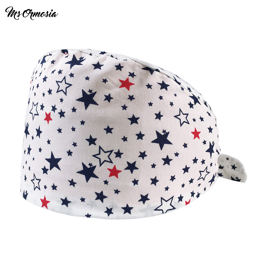 MSORMOSIA High Quality Printed 100% Cotton Men And Women Beauty Hospital Nurse Cap Long Hair Doctor Hat Medical Laboratory Hats