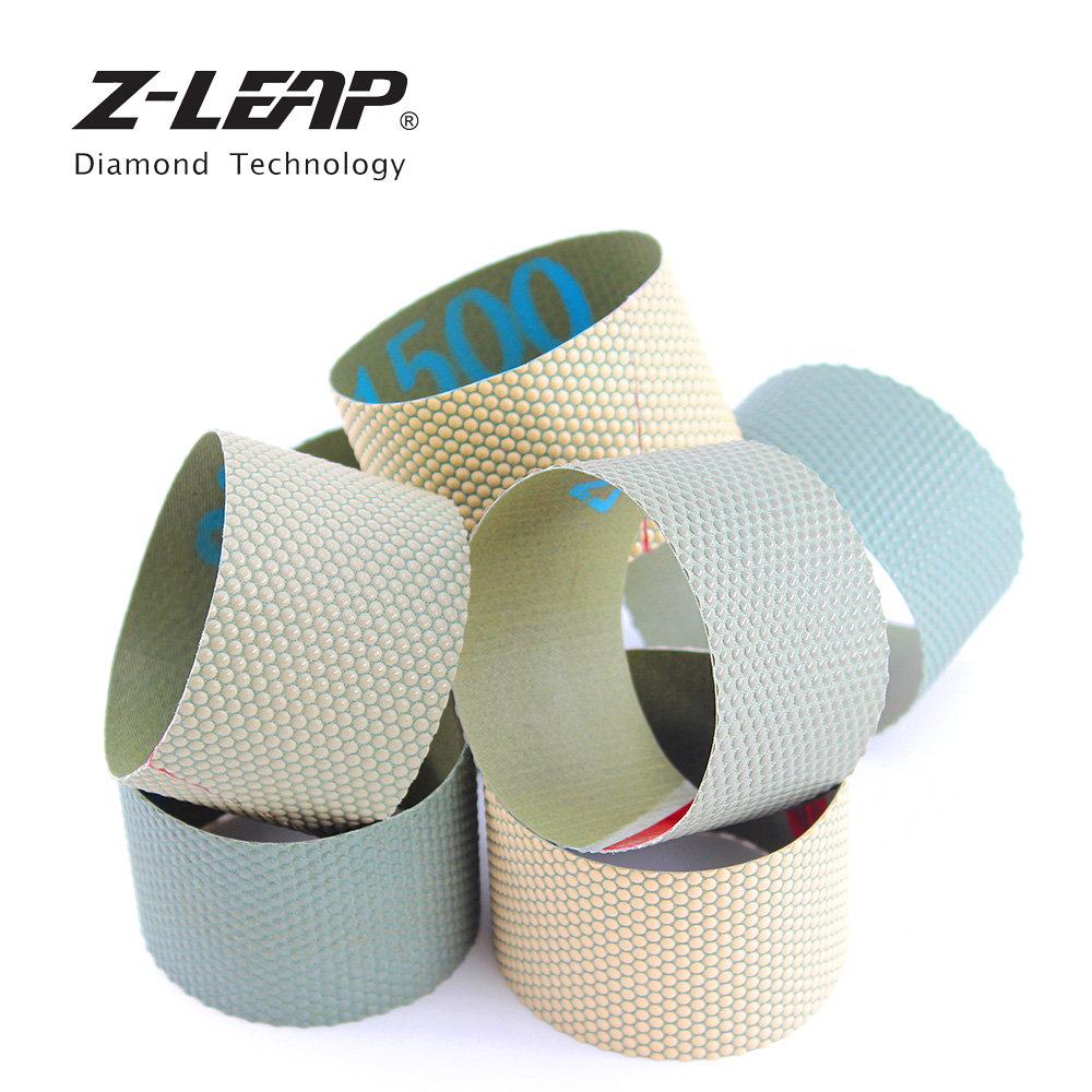 Z-LEAP 7pcs/set Diamond Polishing Belt Granite Marble Stone Sanding Screen Resin Bond Diamond Sandpaper 75*50mm Grinding Tools