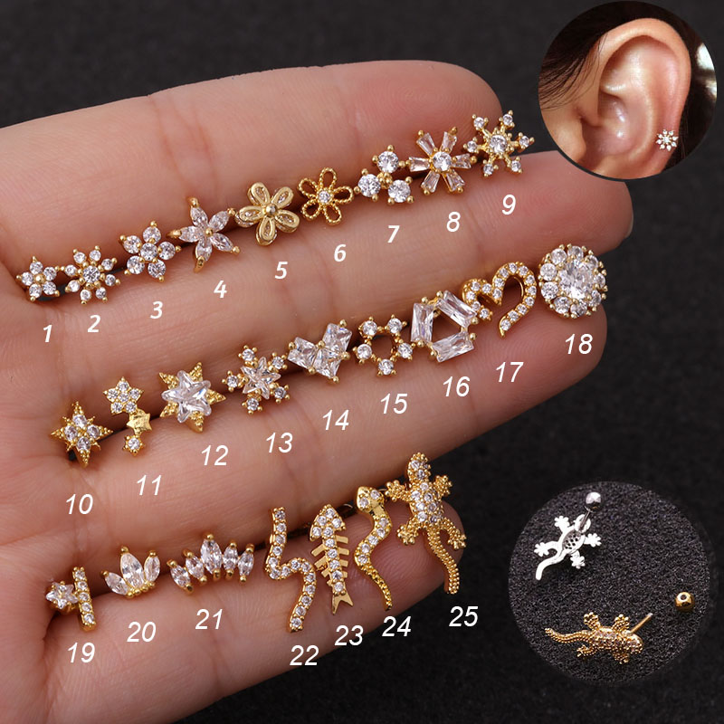 1Pc 20g Helix Piercing Jewelry Conch Rook Lobe Tragus Stud New Rose Gold Color Plants And Animals Cz Cartilage Earring