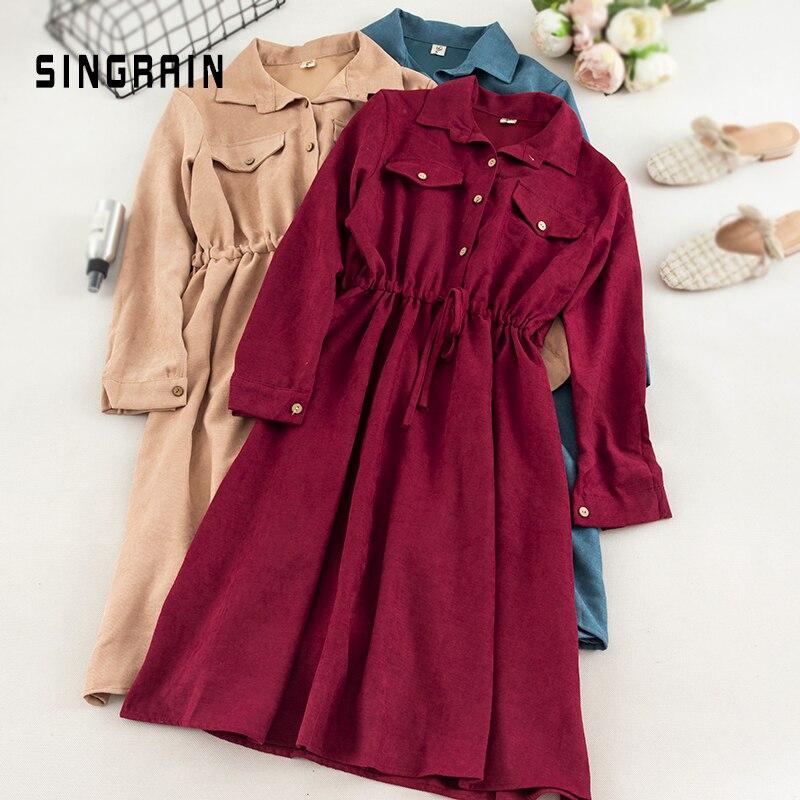 SINGRAIN Women Large Size Corduroy Dress Streetwear French Style Solid Romantic Vintage Dresses Autumn Midi Long Shirt Dress(China)