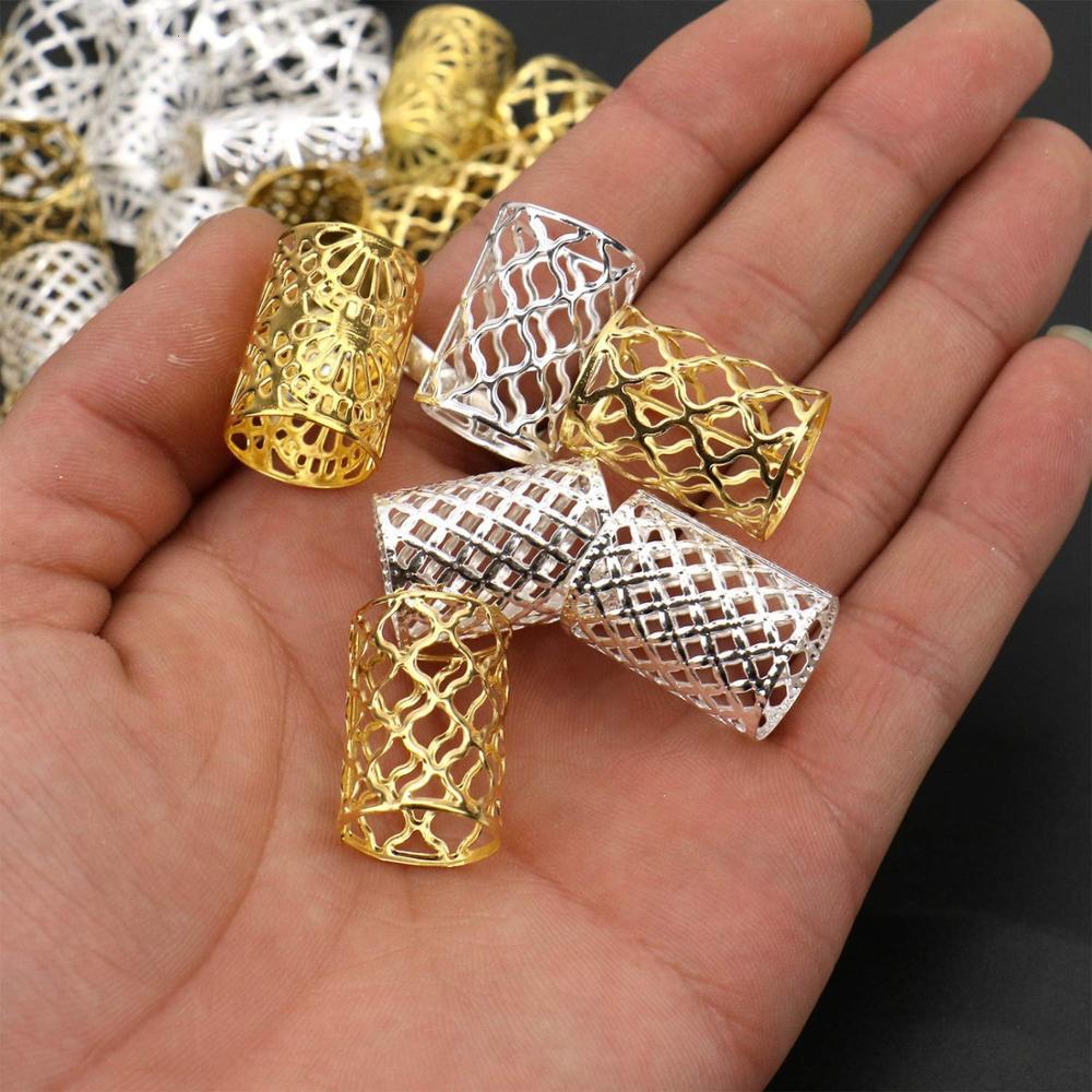 Fechaduras de Cabelo de Ouro e Prata Fechaduras de Metal para Decoração de Cabelo Trançado Lote Joias 30-60 Pçs –