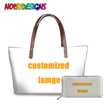 NOISYDESIGNS Customized Print Handbags Set Women Brand Design Custom Tote Should