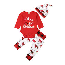 Kids Baby Girl Boy My First Christmas Outfits Set