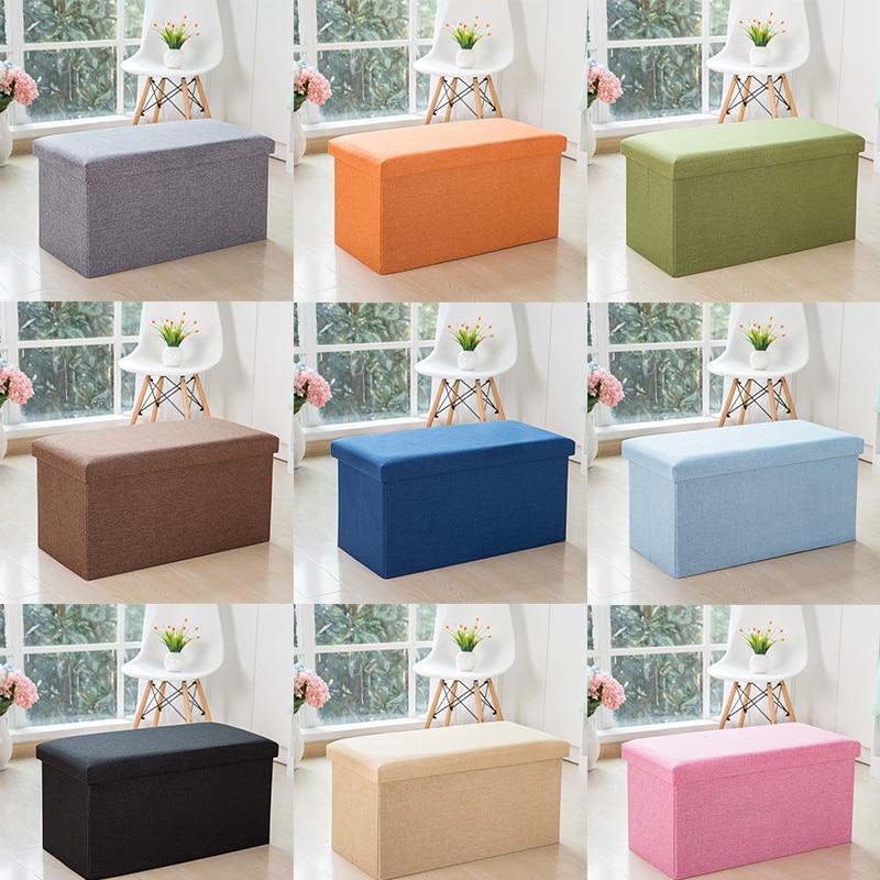 3Sizes Household Portable Storage Box Sofa Foldable Chair Sofa StoolS Ottomans Pouf Storage Poef Foot Stool 9 Colors Furniture