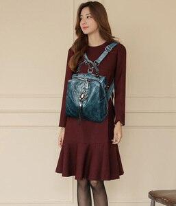 Image 3 - Backpack For Teenager Girls School Bag Studded Tassel Bagpack Sac A Dos Women Leather Small Travel Backpack Shoulder Bag Mochila
