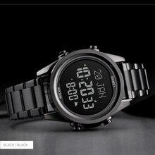 Muzułmański zegar Azan zegarek na modlitwę z Qibla kompas Adhan Alarm kalendarz Hijri islamski Al Harameen zegarek mężczyźni SKMEI 2020