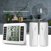Refrigerator Thermometer, Wireless Digital Freezer Thermometer with 2 Wireless Sensors, Audible Alarm, Min and Max Record