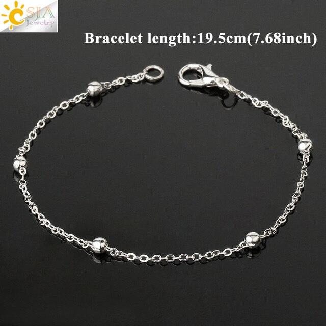 CSJA couleur argent paire Bracelets pour Couples meilleur ami mince couleur or chaîne lien Bracelet délicat bijoux Pulseras Mujer G485