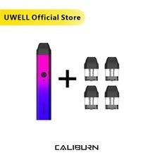 Uwell caliburn pod sistema kit 520 mah bateria e 1 pacote 2ml cartucho de pod recarregáveis sistema de pod de enchimento diretamente vape