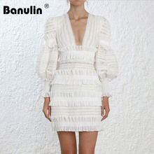 Sexy Deep V Neck Tiered Ruffles Patchwork White Lace Dress 2019 Autumn Women Brand Designer Puff Sleeve Short Bodycon Dress tiered bell sleeve fitted lace dress