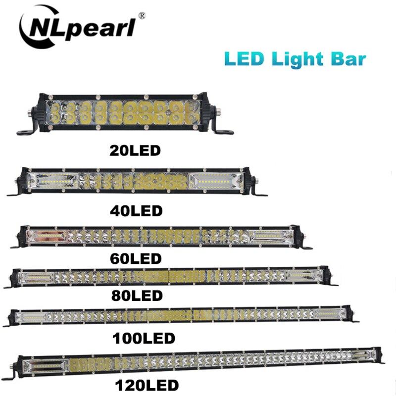 Nlpearl Light Bar/Work Light 60W 120W 180W Combo Spot Flood LED Bar For Trucks SUV 4X4 UAZ Off Road ATV LED Work Light 12V 24V