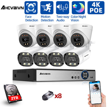 H.265+ POE CCTV Security System Two-way Audio 8CH 4K Audio Record NVR Outdoor 8MP IP Camera IR Night P2P Video Surveillance Kit techage h 265 8ch 2mp poe security camera system 1080p poe nvr kit p2p cctv video surveillance outdoor audio record ip camera