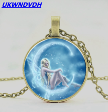 Fairy Elf Glass Pendant Necklace Retro Men and Women Chain