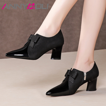 ANNYMOLI High Heels Women Pumps Natural Genuine Leather Zip Thick High Heel Shoes Sheepskin Bow Pointed Toe Shoes Ladies Size 42
