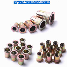 50 шт./лот гайка с заклепками M4 M5 M6 M8 M10, оцинкованная углеродистая сталь, рифленые гайки, плоские заклепки с резьбой