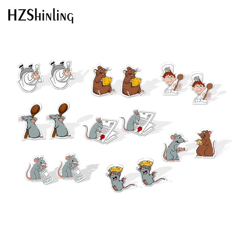 2020 New Ratatouille Remy Mouse Acrylic Earring Funny Little Chef Resin Earrings Epoxy Earring Silver Color Jewelry Girl Boy
