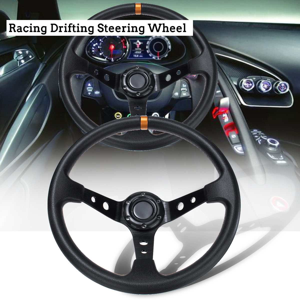 รถ Racing พวงมาลัยล้อกีฬาอัตโนมัติพวงมาลัย 14 นิ้ว 350 มม.PU และอลูมิเนียม Universal ข้าวโพดลึกจานดัดแปลงอะ...