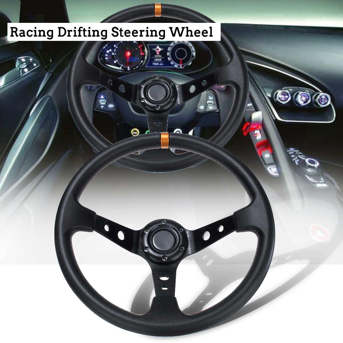 Volant de course de voiture dérive Auto sport volant 14 pouces 350mm unité centrale et aluminium universel plat de maïs profond pièces modifiées