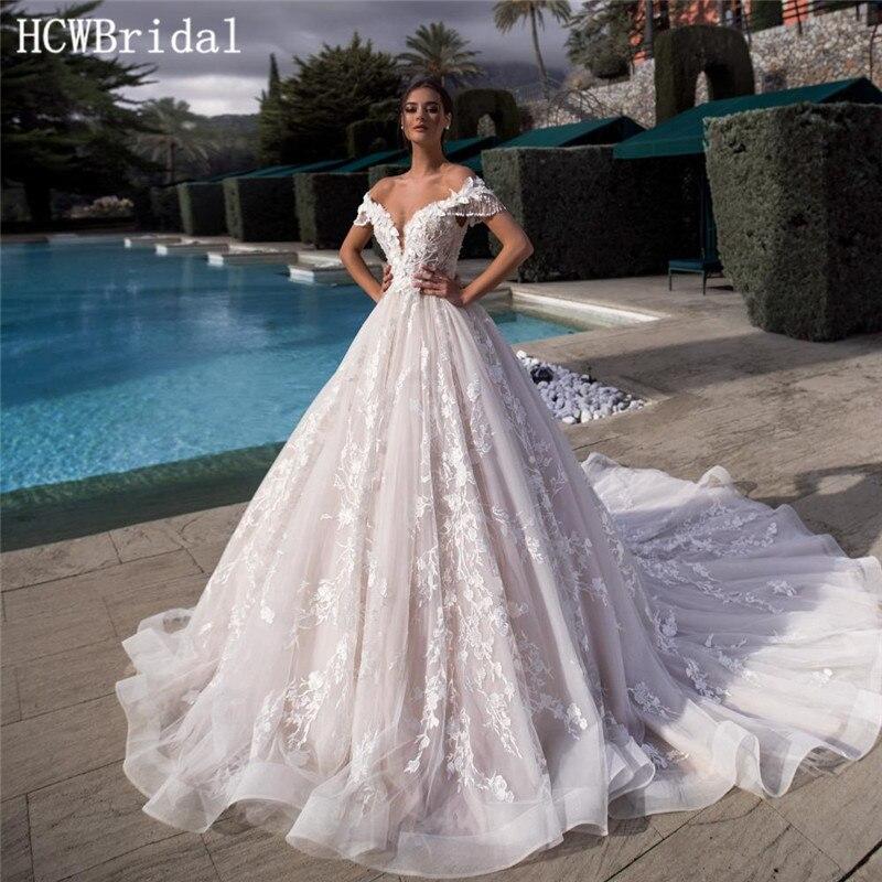 2019 New Dubai Wedding Dresses Unique Lace Sweep Train Corset Back Arabic Bridal Dress Custom Made Robe De Mariee
