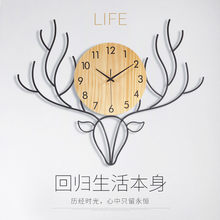 Reloj De Pared grande nórdico, mecanismo De Reloj De Pared con cabeza De ciervo para sala De estar, regalo silencioso, Idea De Reloj De Pared, decoración del hogar DD45WC(China)