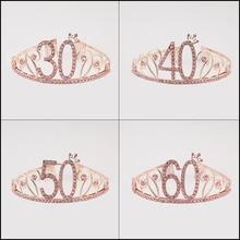 Тиара Стразы для дня рождения Женская, Розовая Повязка на голову с короной, с днем рождения 30, 40, 50, 60, аксессуары для украшения дня рождения
