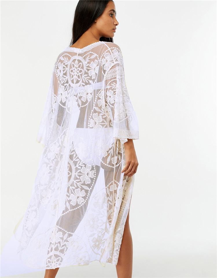 Europe And America New Style Mesh Embroidery Lace Bandage Cloth Cardigan Holiday Beach Bikini Outer Blouse Casual Holiday