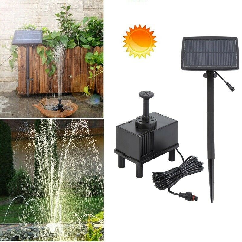 2.5W  Solar Panel Powered Water Fountain Pump Aquarium Garden W/Sponge Filter 180L/H