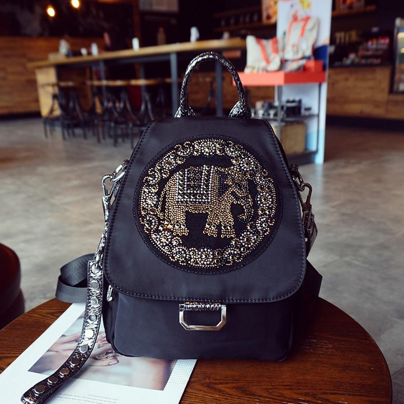 Femmes sacs à dos noir éléphant sacs Punk noir voyage Pack cristal Oxford tissu mode sac dames bandoulière sacs à bandoulière