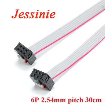 2.54mm Pitch FC-6 JTAG ISP AVR Download Cable Wire Line 6P 6pin 30CM 300mm Connector Gray Flat Ribbon Data Cable 28AWG image