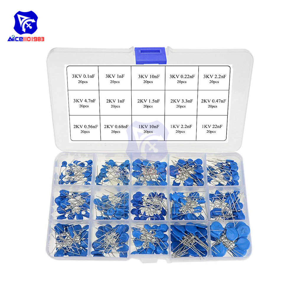 Diymore 300 шт./лот 15 значения высокого Напряжение Керамика диск набор различных конденсаторов 1KV 2KV 3KV постоянной ёмкости, универсальный