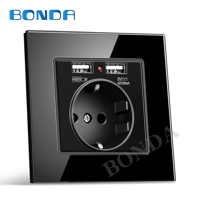 EU wall Power plug Socket with usb outlet Glass 2A Dual USB Charger plug wall outlet 16A 2100ma Electrical Wall Power Socket