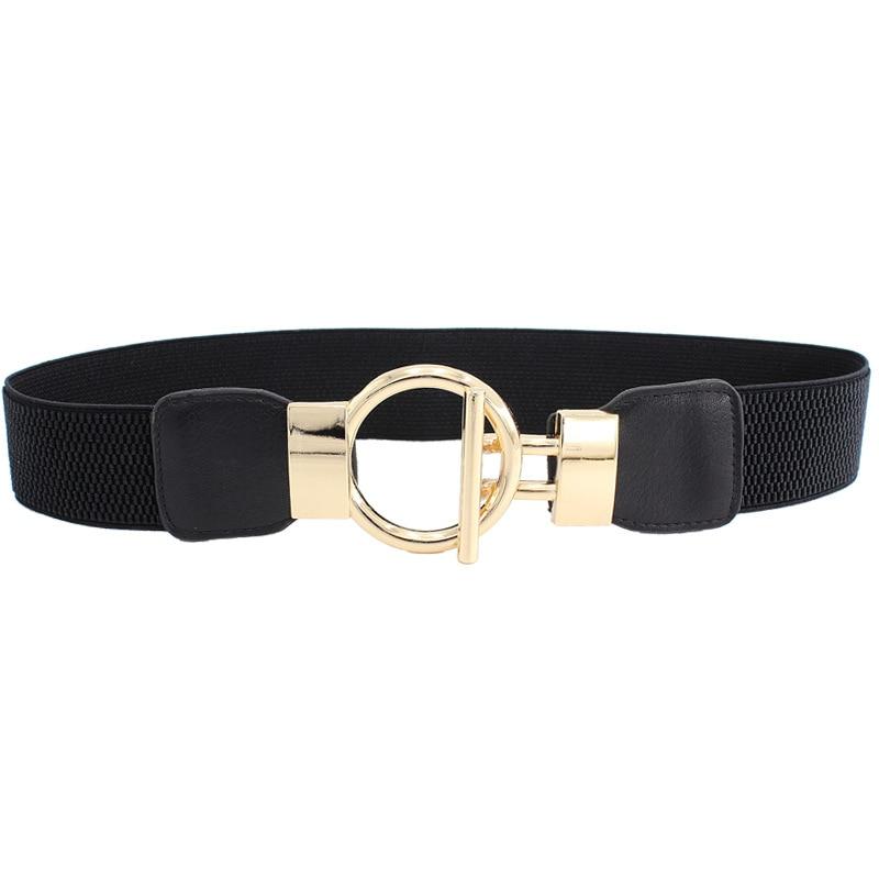 Woman Belt Dress Decorate Simple Sleeve Elastic Girdle Gold Buckle Wide Belts Elegant Solid Color Cummerbunds Cinturon Elastico