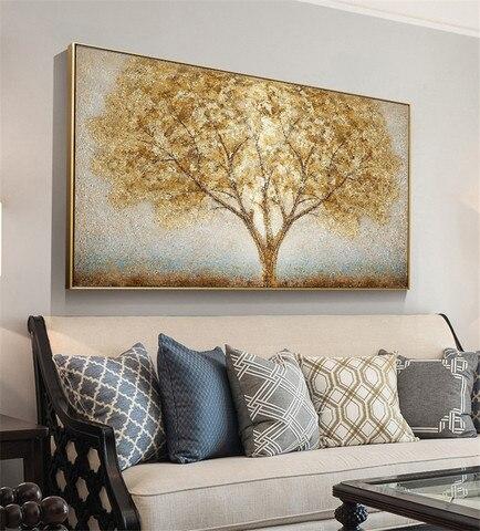 Sala de Estar Pintura da Parede Pintados à Mão Pintura a Óleo Restaurante Quarto Arte Decoração Lona Árvore Sorte Ouro