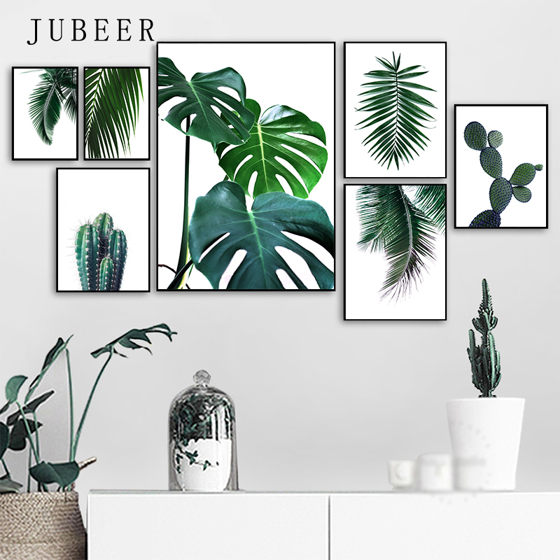 Fresh Green Posters and Prints Cactus Big Tropical Leaves Canvas Painting Plants Nordic Decorative Picture Wall Art Picture