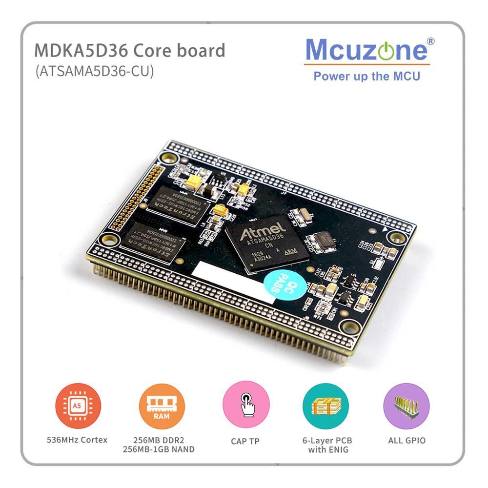 MDKA5D36 Coreboard, Industrial Grade ATSAMA5D36 536MHz CPU, 256MB DDR2, 256MB NAND, High Speed USB, ISI, Dual Ethernet, 6xUART