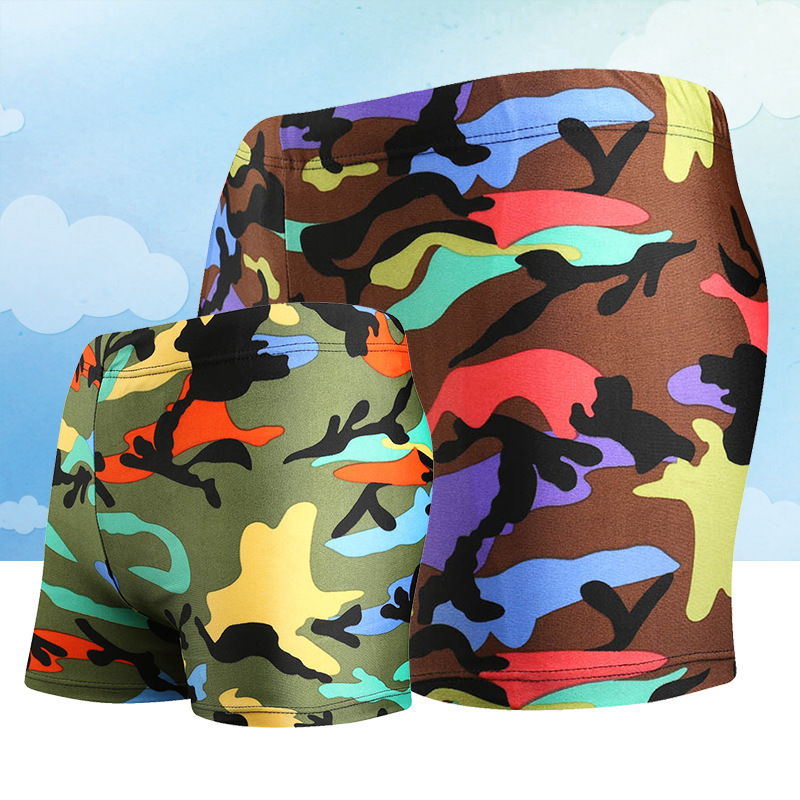 Children Boxer Swimming Trunks Fashion Big Boy Breathable Quick-Dry Camouflage Beach Swimming Shorts Regulation Lace-up Swimming
