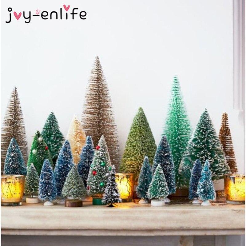 8pcs Mini DIY Christmas Tree Fake Pine Tree Christmas Desktop Decor Santa Snow Frost Village House Christmas Decoration For Home