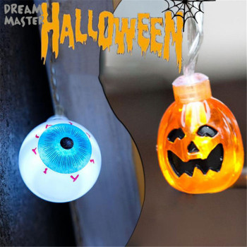 Battery 2M 20light Halloween Pumpkin Scary eyes LED String Lights Garden Home Decoration Holiday Str