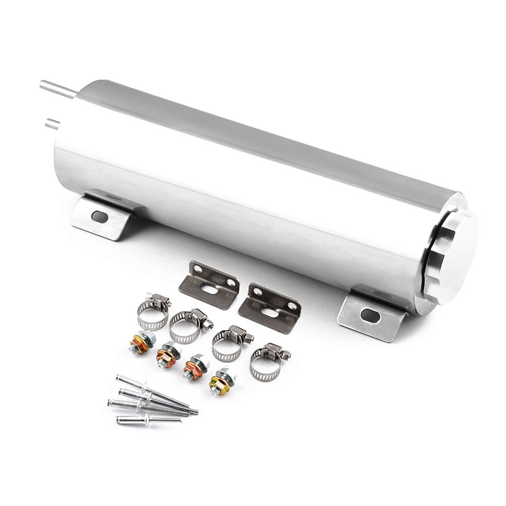 """3"""" x 10"""" Polished Stainless Steel Car Radiator Overflow Tank Bottle Catch Can Kit Universal Coolant Tank High Quality