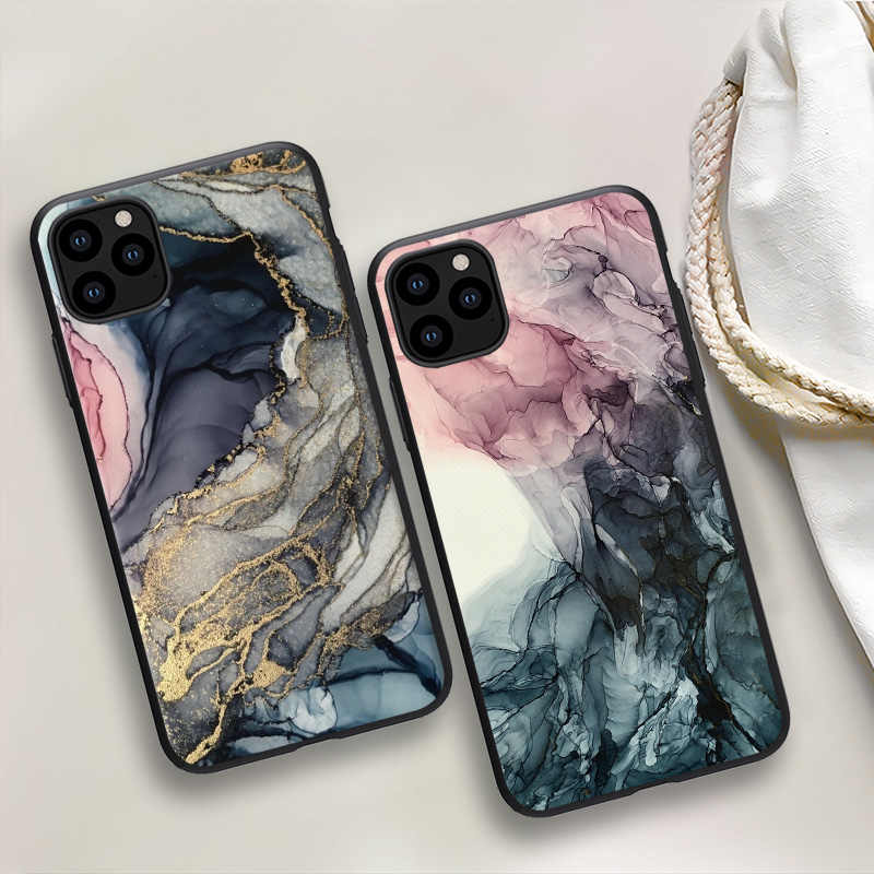 Custodia con motivo in marmo ad acquerello per iPhone 11 custodia morbida verniciata a inchiostro TPU per iPhone 12 Pro XR 7 8 6 6S Plus X XS Max SE 2020 Shell