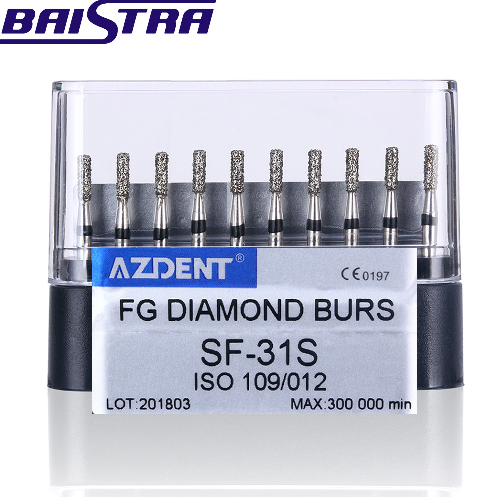 SF-31S 10 Pcs/set Dental High Speed Diamond Burs  Dentist Super Coarse Diamond Dental Lab Tools