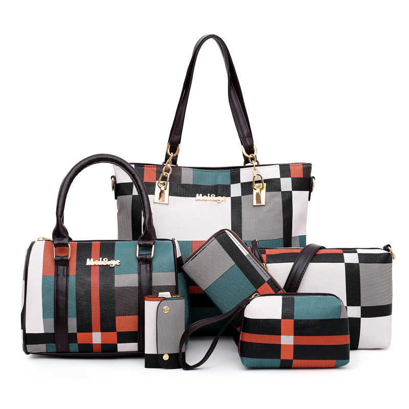 2020 New 6 PCS Set Luxury Handbags  Women Plaid Colors Handbag Female Shoulder Bag Travel Shopping Ladies Crossbody Bag
