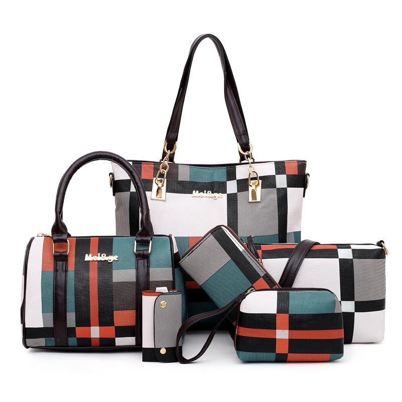 2020 New 6 PCS Set Luxury Handbags  Women Plaid Colors Handbag Female Shoulder Bag Travel Shopping Ladies Crossbody Bag