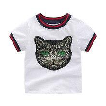цена на Children Cat pattern T Shirts For Girls Costume Happy Birthday Girls Tops Kids Clothing Boy T Shirt Brand  Shirt Girl
