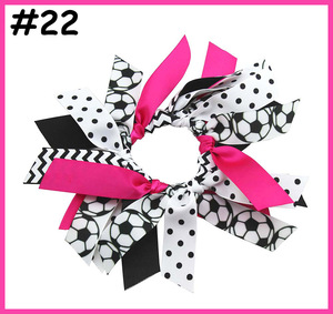 Image 5 - free shipping 10pcs soccer ribbon hair scrunchies ponytail holder Gymnastics Hair Tie  Dance Pony   pony hair ties sport bows