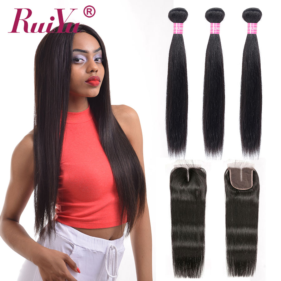 Straight Hair Bundles With Closure Brazilian Hair Weave Bundles With Closure RUIYU Human Hair With Closure Non Remy Hair Extens-in 3/4 Bundles with Closure from Hair Extensions & Wigs