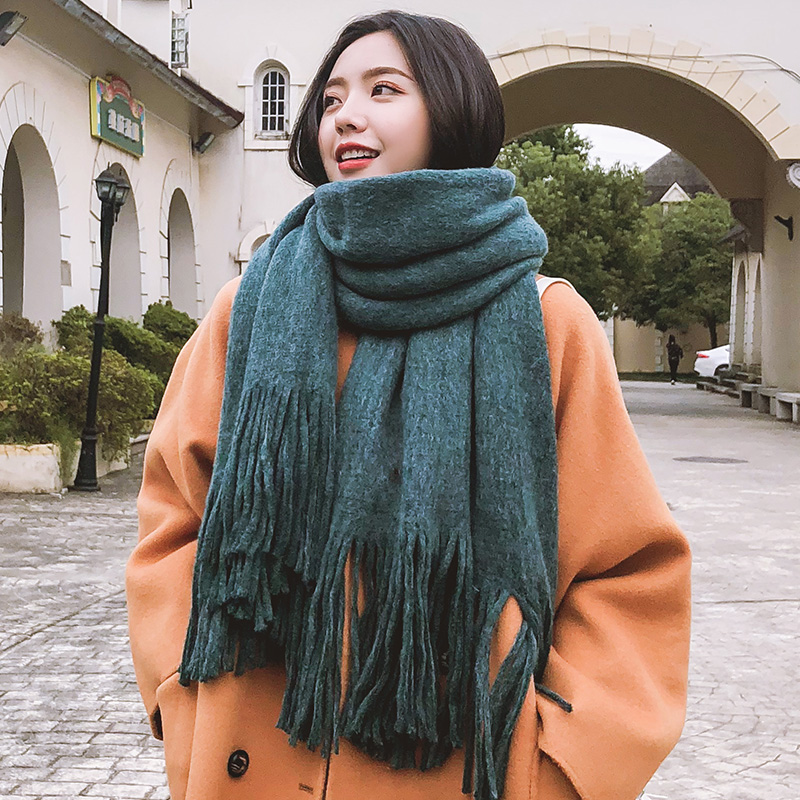 Brand Scarf Female Winter Student Version Versatile Thickened Wool Shawl Long Dual Purpose Thick Thread Warm Solid Color Bib Tif