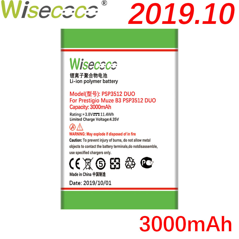 Wisecoco 3000mAh Newly Production Battery For <font><b>Prestigio</b></font> Muze B3 <font><b>PSP3512</b></font> DUO PSP 3512DUO Phone Battery Replace + Tracking Number image