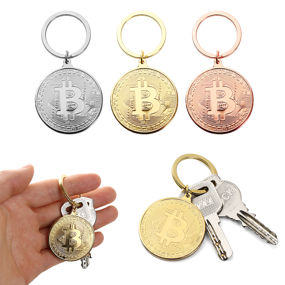 Bitcoin Key Chain Coin Key Rings Jewlery Commemorative Collectors Friends Gifts Key Decorative Coins Bag Keychain Pendant 1